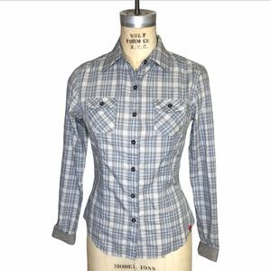 North Face plaid embroidered button up